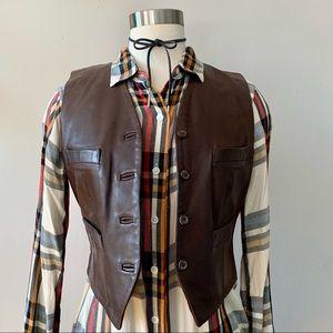 Vintage '90s DKNY leather vest dark brown 6 M